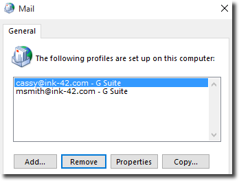 in the dialog that opens select always use this profile specifying your g suite profile in the list below - Make Profile