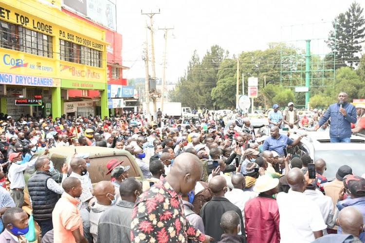 Kapseret MP Oscar Sudi when he addressed a public meeting in Eldoret on September 11, 2020.