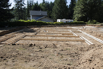 Photo: All formed, bar tied and raised and the verts tied in.  In the morning we'll form all the expanded footings.  Mud is at 6:30 Wednesday.
