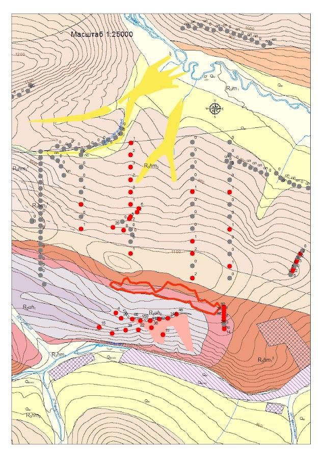 Результаты шлихового опробования делювиальных отложений северного склона месторождения Голец Высочайший