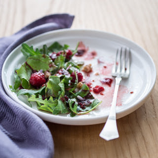 Beet Greens and Arugula Salad with Raspberry Vinaigrette