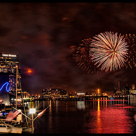 4th of July, Fireworks and Full Moon by Deborah Felmey - Public Holidays July 4th ( firework, baltimore, inner harbor, nightscape, fireworks, 4th of july, nightscapes,  )