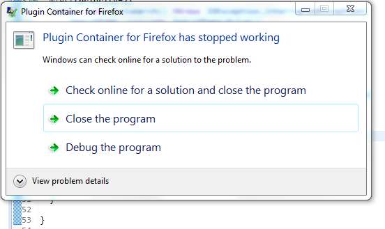 Plugin Container for Firefox has stopped working