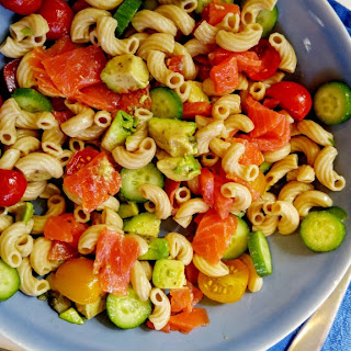 Smoked Trout Pasta Salad with Avocado.