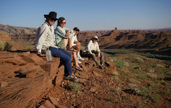 """Photo: Ned, Tina, Steve and Casey await the viewing of the complete """"ring of fire"""" annular eclipse amid the darkening landscape."""