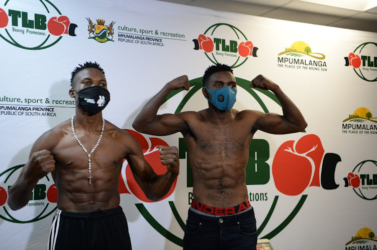Xolisani Nomeva Ndongeni-SA vs.Byson Gwayani (Malawi) during the 'Return of the Big Guns' Boxing Tournament Pre-Med event at World of Rugby on March 17, 2021 in Johannesburg, South Africa.