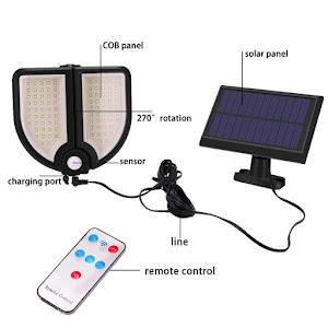 Lampa solara 90 LED, senzor de miscare, telecomanda