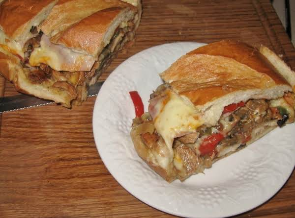 Chicken,ham And Portabella Bread Bake With Caramelized Onions !