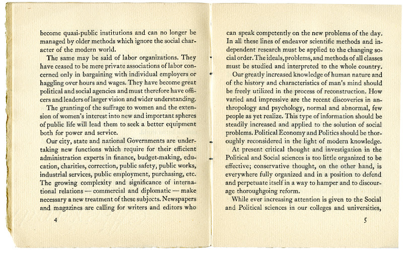 """Photo: pages 4 and 5 from """"A Proposal for An Independent School of Social Science"""". The New School first opened its doors in 1919."""