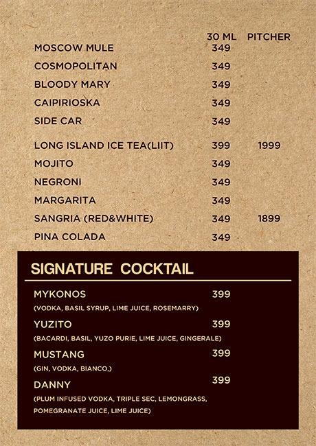 Friction The Drinkery menu 3