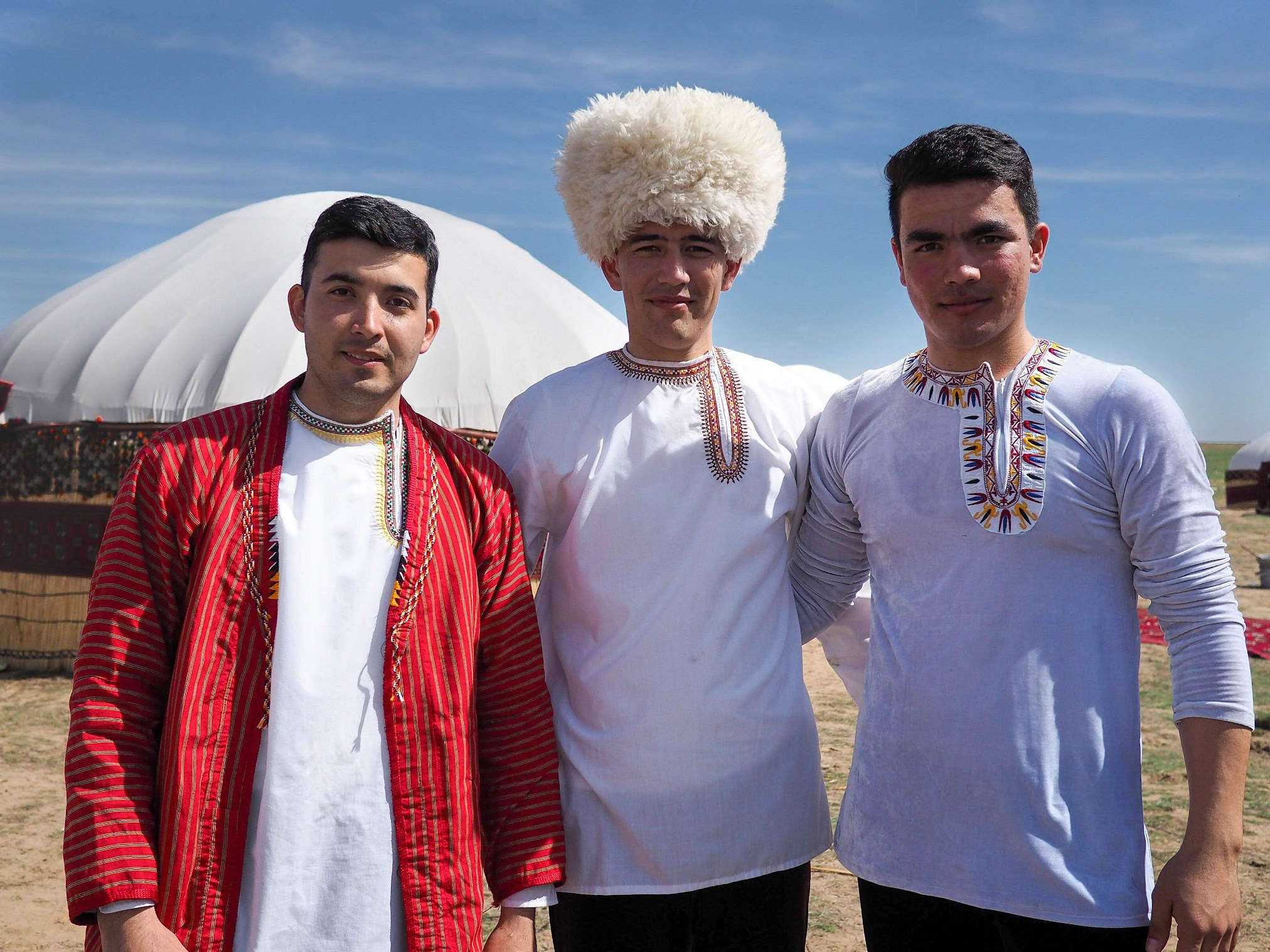 Three young men from a village near Ashgabat.