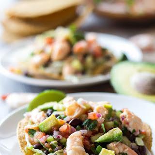 Avocado Shrimp Ceviche Tostadas.
