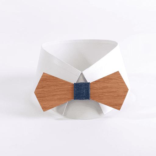 Noeud papillon en bois de chene Tissu denim bleu. LEVIS by  WoodenFR