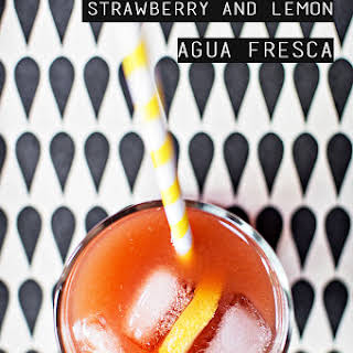 Strawberry and Lemon Agua Fresca with a shot of Cachaca.