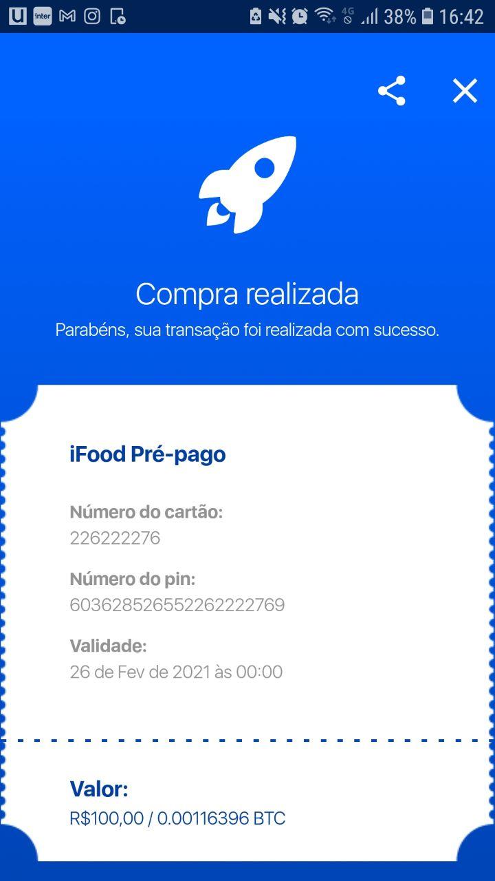 """Compra realizada"" no ifood pré-pago"
