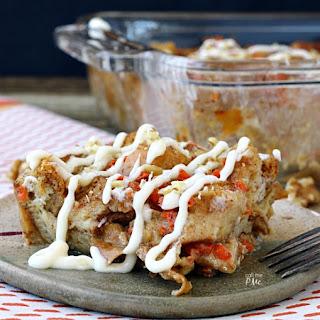 Cream Cheese Glazed Carrot Cake Bread Pudding Recipe.