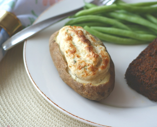 """Potato Boats with """"Sour Cream"""" and Herbs"""
