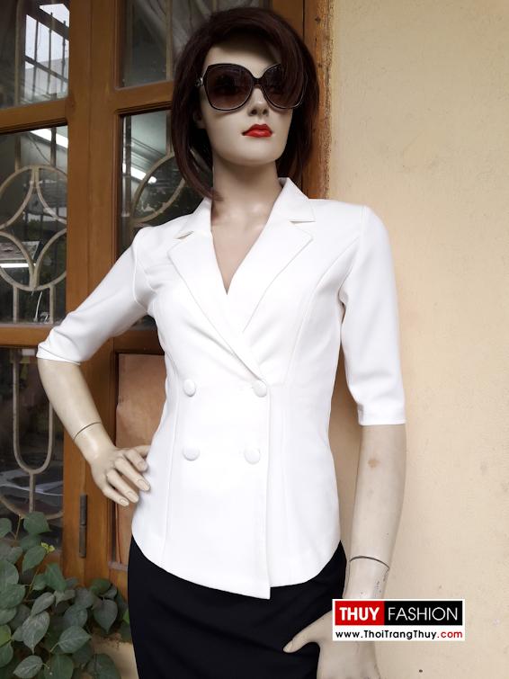 Áo vest nữ công sở ngắn tay màu trắng V328 thời trang thủy
