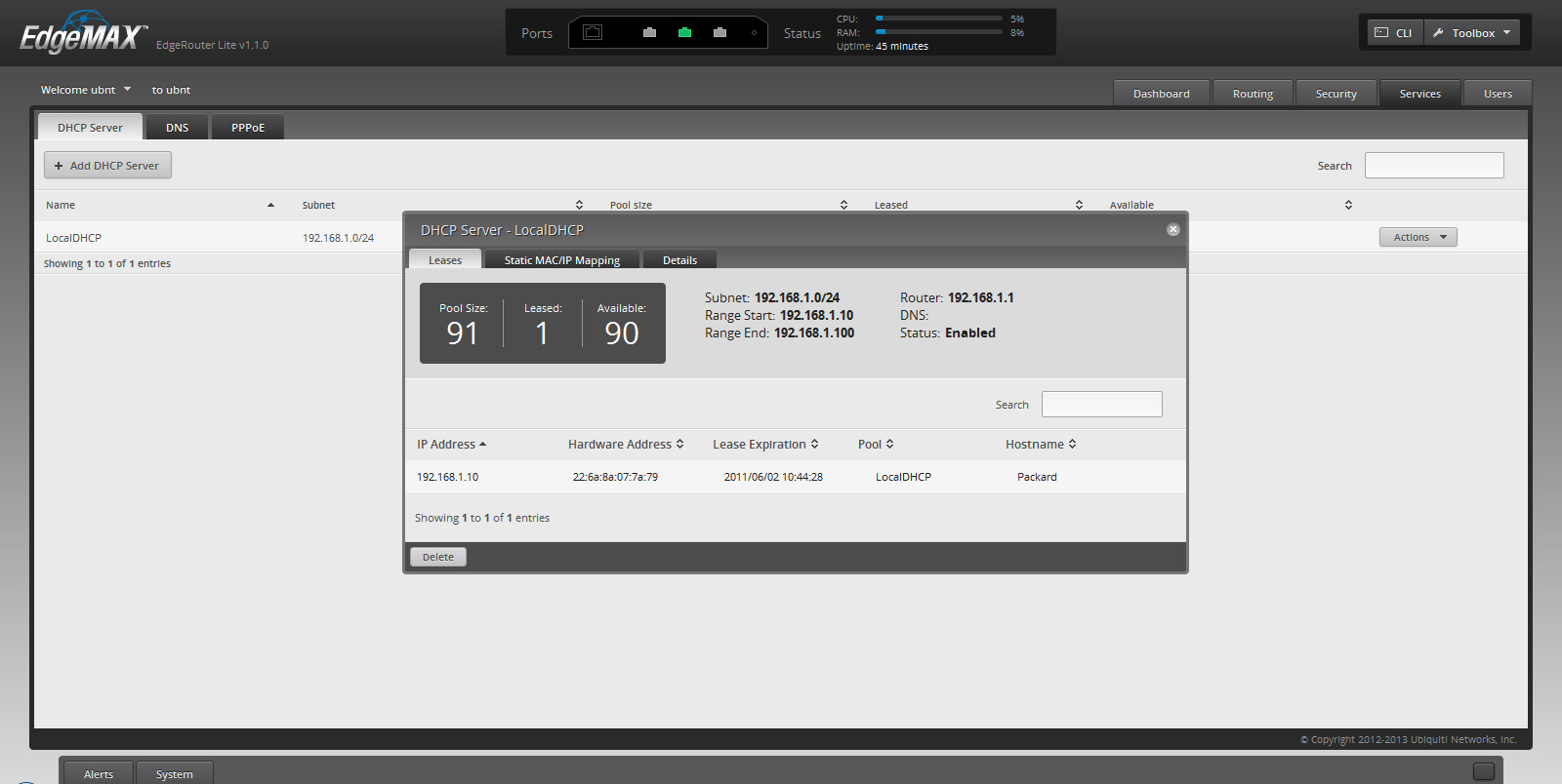 Расширенные настройки Ubiquiti EdgeOS: статический DHCP сервер