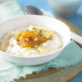 Ginger Rice Pudding with Peach Compote.