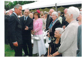 Photo: Michael Chairman of the INIB welcomes his Royal Highness on behalf of the Institute of Northern Ireland Beekeepers, and has a little chat about his bees which he has on his Highgrove Estate
