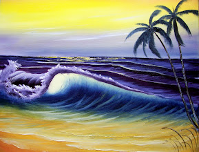 """Photo: 1209 Tropical Seascape. Oil on canvas. Frame: no. Price: 18"""" x 24"""" $229.00"""