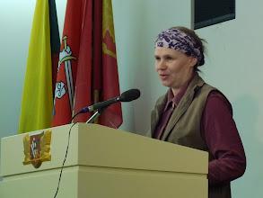 """Photo: 2014 kovo 29d. filmo """"Vytautas Gurevičius. Prisiminimai."""" premjera.  Pasisako Diana Stungurienė, studija Gin-Dia."""
