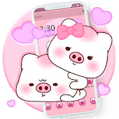 Endearing Pink Piggy Cartoon Theme