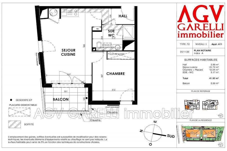 Vente appartement 2 pièces 41.92 m² à Cogolin (83310), 222 500 €