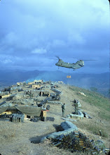 Photo: Supply drop at 1/77 battery on LZ Peanuts (pre attack).  Mike Kern Picture.