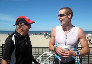 Photo: 2011 Wasaga Beach Triathlon - post race laughs with John Salt