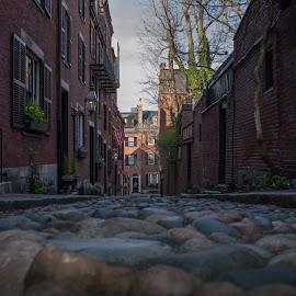 Beacon Hill Boston Ma by Paul Gibson - City,  Street & Park  Neighborhoods ( boston, homes, cobblestone, city, street photography )