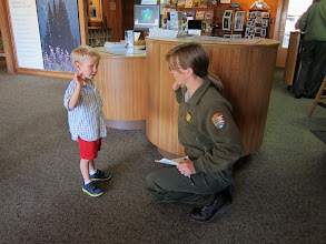 Photo: Miles taking his Junior Ranger oath.