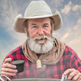 Soup's Ready by Judy Rosanno - People Portraits of Men ( cowboy, february 2018, event, san antonio stock show and rodeo, chuckwagon cook, western,  )
