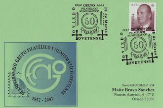 Photo: Matasellos de los 50 años del Grupo Filatélico y Numismático Ovetense