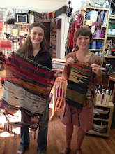 Photo: two first time weavers and there pieces.