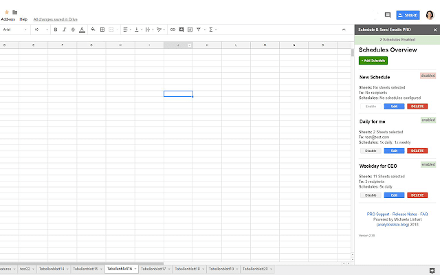schedule send email in spreadsheets google sheets add on
