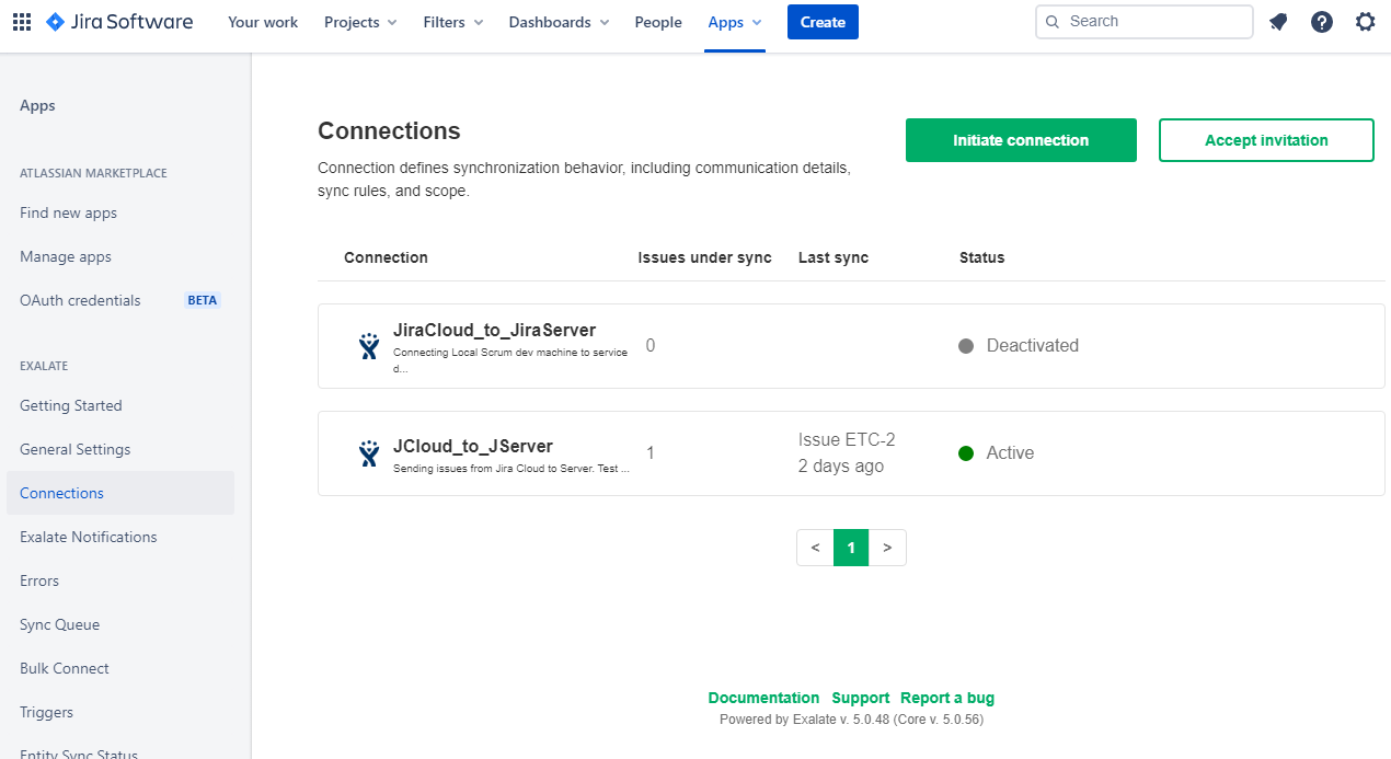 initiate connection for a jira to jira integration