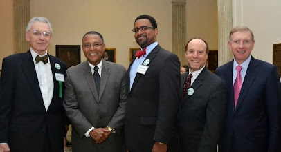 Photo: MLAC Executive Director Lonnie Powers, Chief Justice Roderick Ireland (Supreme Judicial Court), Rahsaan Hall (Lawyers' Committee for Civil Rights), Sandy Moskowitz (Davis Malm & D'Agostine), and BBA President Paul Dacier.