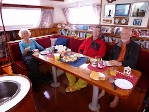 Photo: Celebrating the boat being safe and still afloat with fresh raisin buns by Diana.