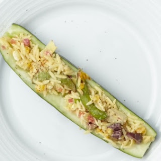 Mediterranean Rockin' Roasted Vegetables in Cool Cucumber Boats