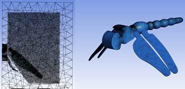 Сетка в расчётной области и на поверхности стрекозы