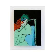 Photo: Double profil sérigraphie et peinture sur verre, 40x51 cm, 2010, 7 exemplaires uniques numérotés et signés. © Nadja Cohen