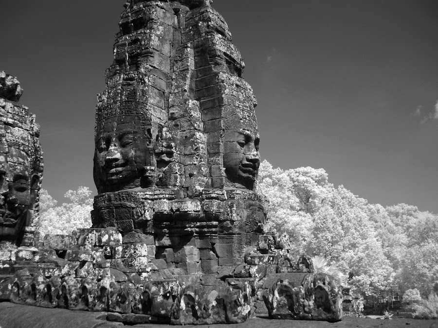 Khmer Thom, Infrared Photo by James Rudick - Buildings & Architecture Statues & Monuments ( landmark, ancient city, ankgor thom, black and white, infrared, ankgor wat, travel, cambodia,  )
