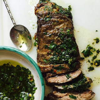 Grilled Steak With Chimichurri Sauce.