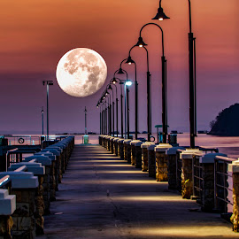 Bridge to Moon by Adrian Choo - Buildings & Architecture Bridges & Suspended Structures ( sky, moon, light, beach, night, bridge, colours )