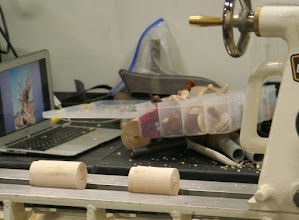 Photo: After some quick work, we have two cylinders with tenons for doing some instruction...