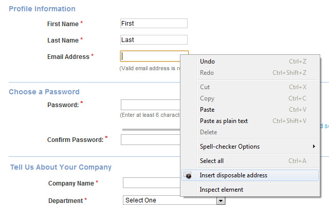 Easy disposable email address