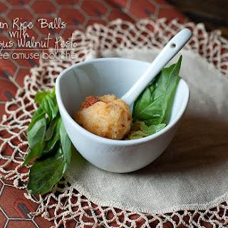 Italian Fried Rice Balls with Asparagus Walnut Pesto