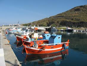 Photo: Small boats Mykinos new harbour